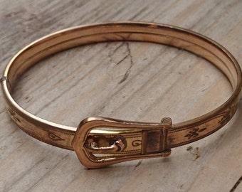Vintage rolled gold belt bangle