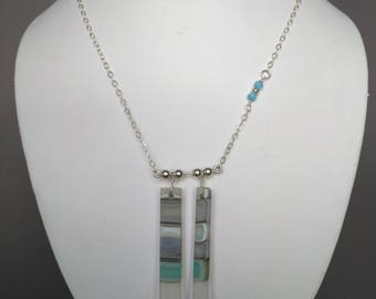 Glass and sterling silver necklace -