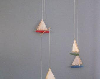 Primary Colors Wooden Sailboat Mobile