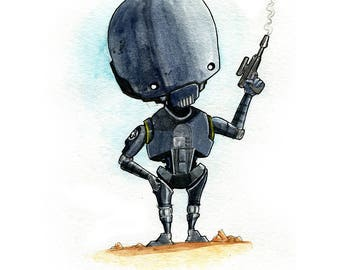 K-2SO Rogue One Inspired Watercolor Print