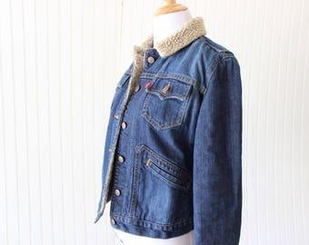 Vintage Levis Denim Sherpa Quilted Jacket XS Jean Coat 90's Denim