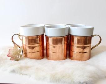 Vintage Copper Mugs Set 6 Copper Gold and Porcelain Cups