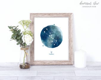 taurus print - watercolor constellation art print - taurus gift idea with color options - 8x10