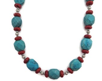 Chunky Turquoise Necklace, Turquoise and Red Stone Necklace, Southwest Necklace, Long Turquoise Beaded Necklace, Howlite, Rust Red Beaded