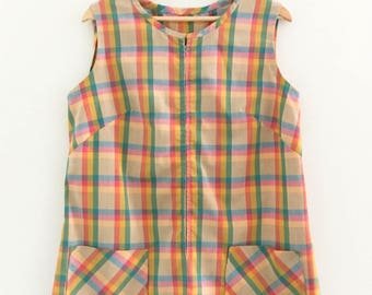 60s vintage rainbow jumper dress / pinafore dress / shift dress / rainbow plaid / plaid jumper / medium - large