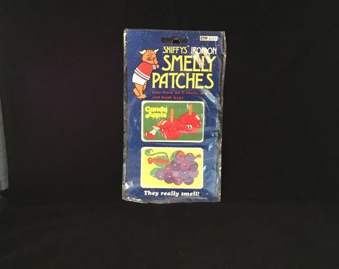 SNIFFYS Iron-On SMELLY PATCHES Candy Apple and Grape 1981