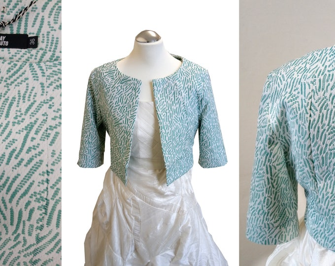 MENTA LEAVES short jacket cotton fine fabric three quarter sleeves without collar