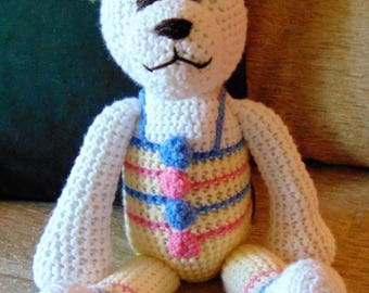 "Crocheted teddy bear stuffed animal doll toy ""Barry"""