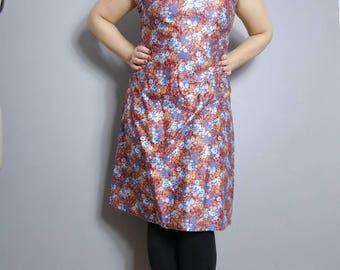 Vintage cotton sun dress / maroon dress flowers / boho simple cotton sun dress / 70s hippie cotton dress / festival dress / ditsy floral