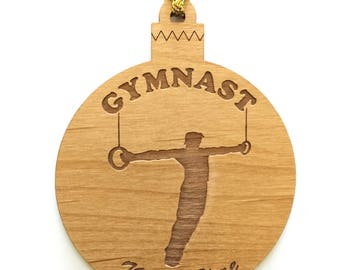 Personalized Wood Men's Gymnastics Ornament Rings Image