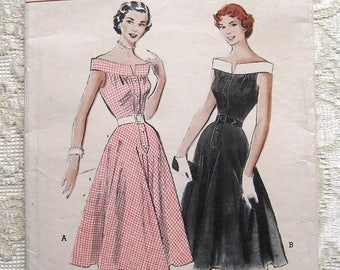 Vintage 50s One Piece Sleeveless Summer Dress w Bateau Neckline.  Butterick 5737 Sewing Pattern Size 12 Bust 30""