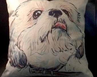 Shih tzu or Maltese Linen Throw Pillow Cover