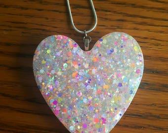 Handmade Resin Necklace, Rainbow Glitter, Resin Jewellery, Iridescent Glitter, Heart Shaped Pendant, Festival Jewellery, Summer Jewellery,