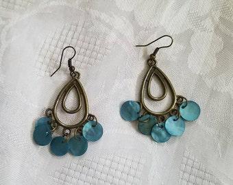 Antique brass chandelier earrings with blue mussel shells