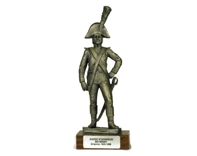 Military Model Pewter Soldier Figurine. French Etains du Prince. Collectible Vintage Figure of Senate Guard of Honour. Gifts For Him.