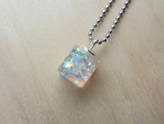 Holographic prism cube pendant necklace 10 mm square glitter like this item mozeypictures Image collections