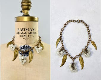 1930's gold metal and glass beaded necklace