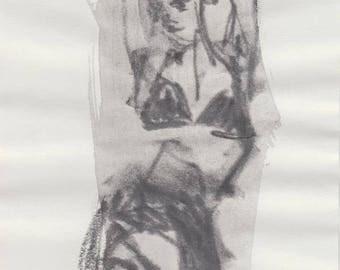 Original Graphite Drawing - Swimwear - Sportwear - Female Figure Drawing - Modern Artwork - Minimal Art - Giftgiving - Black and White ART