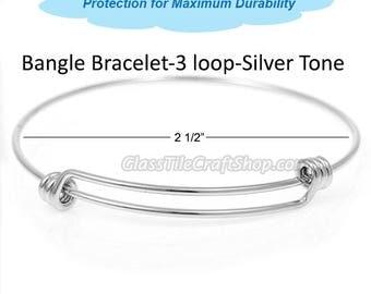 10pk Bangle Bracelet Blank Silver Tone, Double Bar, Triple Loops, Charm Bracelet, Expandable Bracelet, Wire Bangle, Charm Bangle- BBST21CM