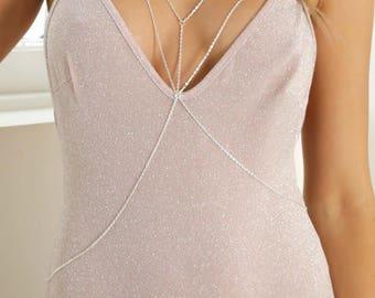 Bra Body Chain-Body Necklace-Bikini Chain-Sexy Jewelry,Shoulder chain,party jewelry,pool party,festival,Nightingaleworkshop