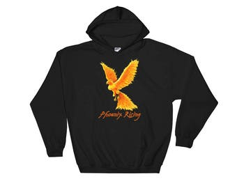 Phoenix Rising Hoodie, Phoenix Hoodie, Hoodie, Hooded Sweatshirt, Fire Bird Hoodie, Phoenix Hoodie, Mythical Bird, Fantasy Art Hoodie