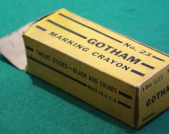 Nine vintage Gotham No 23 black marking crayons  plus one Dixon blue lumber marker No. 521. Industrial
