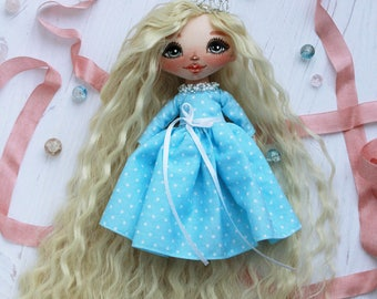 Doll Little Princess with blond hair, Handmade Doll,Craft Doll, KeyChain Doll, Ooak Doll, Gift For Her, Fabric Dolls, Soft Toys