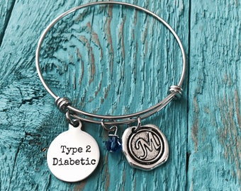Type 2 diabetic, Diabetes Bracelet, Medical ID, Diabetes, Diabetic, Insulin, Diabetic Charm, Diabetic Pendant, Diabetic Jewelry, Charm