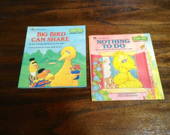 "Set of 2 Sesame Street Children's Books - 1980s Growing Up Books - ""Bird Bird Can Share"" ""Nothing to Do"" - Beginner Reader"
