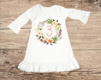 Birthday Dress for Three Year Old, Third Birthday Outfit, Flower Ruffle Dress