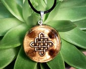 Tiger's Eye Orgone Pendant - Celtic Knot - Solar Plexus Chakra - Empath Jewelry - Orgone Necklace - Medium