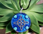 Orgone Pendant - Turquoise - Witch's Knot - Crystal Healing Jewellery and New Age Gift - Resin and Gemstones -  Large