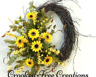 Sunflower Wreath, Sunflowers, Summer Wreath, Fall Wreath, Summer Decor, Spring Wreath, Sunflower Door Decor, Birch Wreath, Fall Wreaths