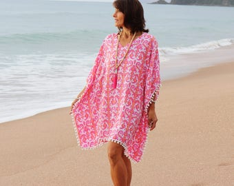 Pink Beach Kaftan cover up - Caftan dress short with pom poms  - Pink and coral tribal print rayon Boho summer Kaftan