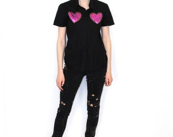 Pretty Disturbia Gothic Punk Black Button Heart Embellished Shirt