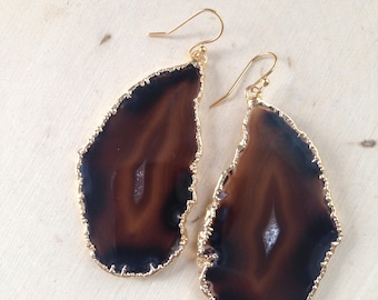Agate Earrings: Gold Dipped Agate Earrings, Agate Slice Earrings, Raw Agate, Geode Earrings, Raw Gemstone Earrings, Natural Agate