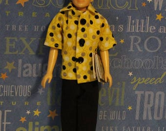 School Days - 50's Style Clothes fit Vintage Ricky sized doll (Clothes only, Ricky Doll not included) Shirt, Black Slacks & Fake Book Covers