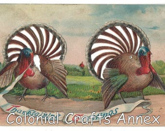 Vintage - Thanksgiving Greetings Card - Pierced Fans - Number 3
