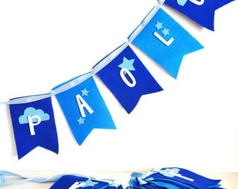 Named decorative flags, hanging banners, birth flags, bedroom decorations, children's festoon, banners in cloth