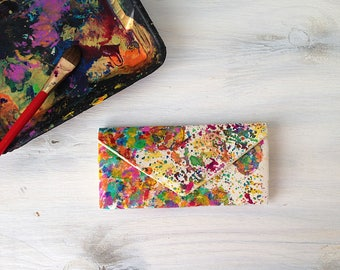 Painted map of the world women's wallet - canvas cash envelope wallet is the perfect travel gift for her. Map art and travel art