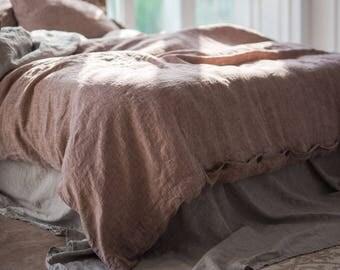 Linen DUVET COVER or SET + 2 pillowslips Stone Washed Seamless Rose brown linen duvet cover King Full Double Queen linen bedding 100% flax