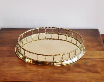 """Round Brass Bamboo Tray, Mid Century 14"""" Diameter Brass Tray, Hollywood Regency Barware Cordial Serving Tray Chinoiserie Brass Plated Vanity"""