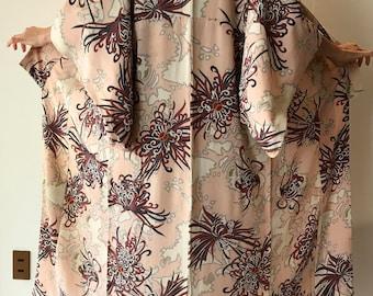 """Authentic Kimono - Vintage Japanese Kimono - Japanese Robe - Long Woman's Kimono - Size S Kimono - Boho Kimono - """"Floral Fireworks"""""""