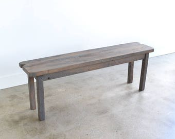 Gray Farmhouse Bench made from Reclaimed Wood