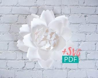 Paper Flower Template SVG PDF, Cricut, diy Flower, diy Decor, Large Paper Flower Backdrop, Paper Peony, Nursery Decor, Wedding Decor