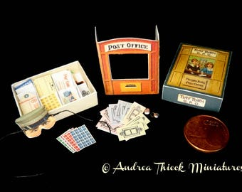 Vintage Miniature Post Office Game 1 - Artisan Handmade Miniature 1:12 scale