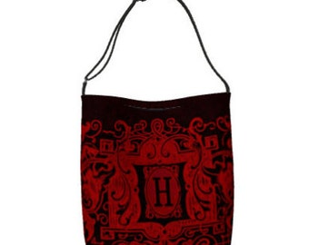 Monogram Tote Bag/Letters H S D O R Z/Red Tote Bag/Victorian Style Monogram Tote/Black Tote Bag/Grocery Tote Bag/Teachers Bag/Made to Order