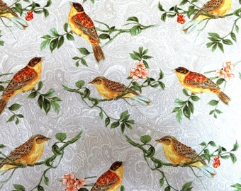 Taupe Wildlife Birds on Branches Cotton Benartex Fabric #2859 By the Yard