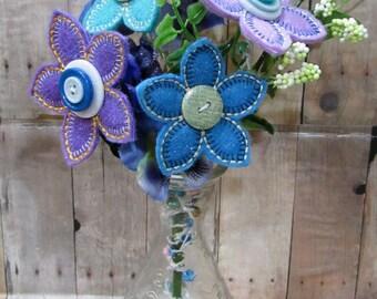 Summer Floral Bouquet, Purple/Blue Flowers
