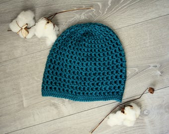 Turquoise Slouchy Sugar Cone Skully Hat